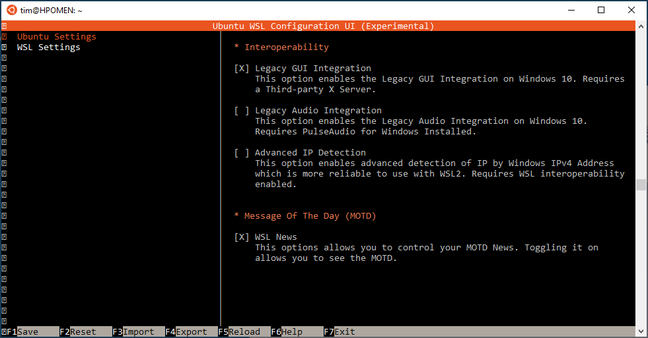 The ubuntuwsl utility, for conjuring various options, has a text-based GUI option