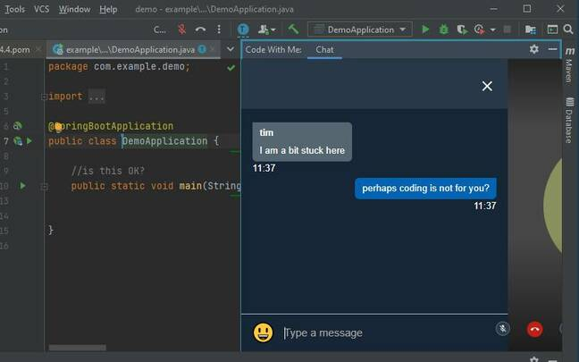 Code With Me has built-in chat, audio and video