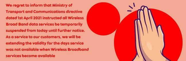 Ooredoo Myanmar wireless broadband suspension notification