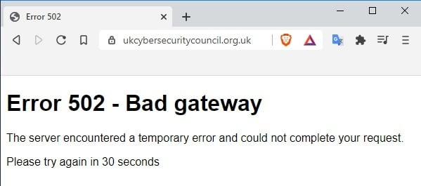 The UK Cyber Security Council domain doesn't even have a parking page, let alone a working website behind it