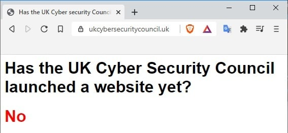 Some joker set up a spoof UK Cyber Security Council webpage to answer an obvious question