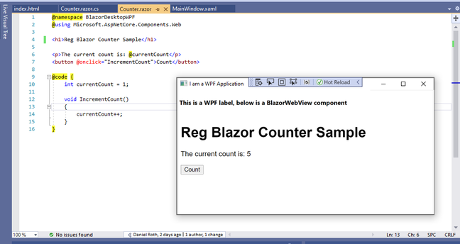 BlazorWebView controls allow developers to embed Blazor web components in WPF and Windows Forms desktop applications, MAUI support is promised too