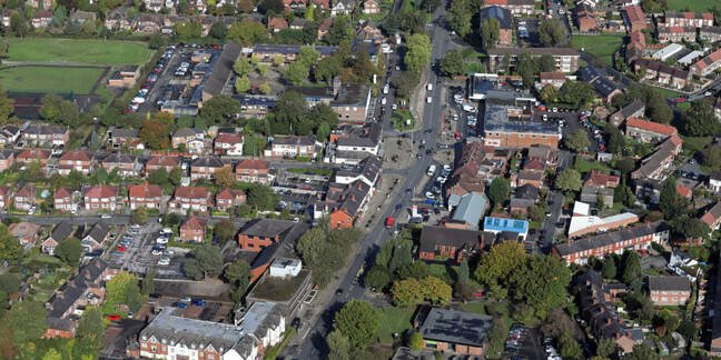 aerial view of Handforth village in Cheshire, UK