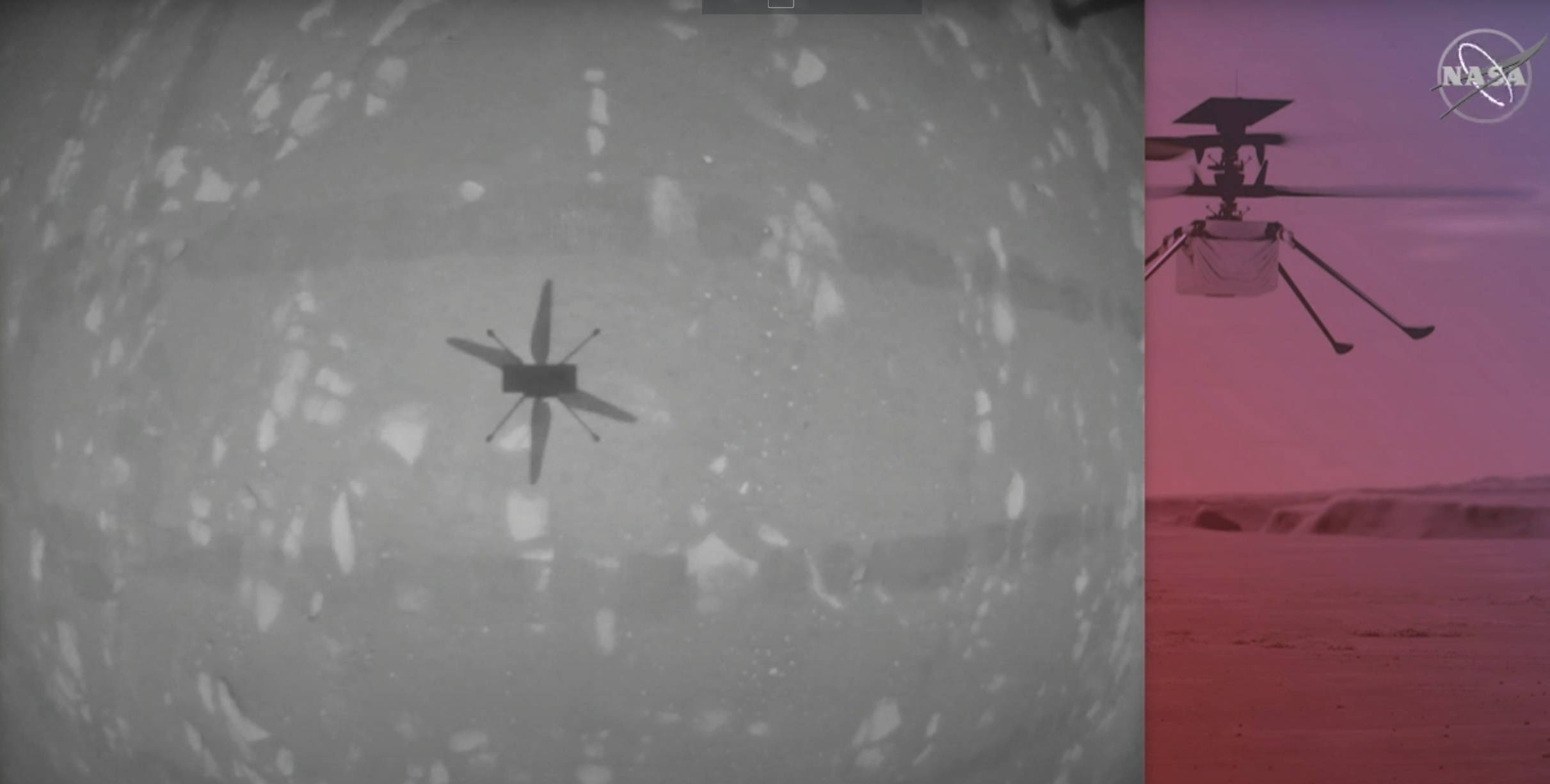 On a dusty red planet almost 290 million km away... NASA's Ingenuity Mars Helicopter flies