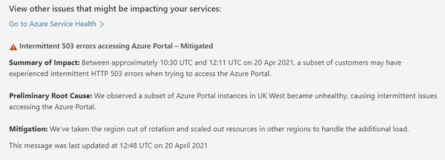Azure Portal 503