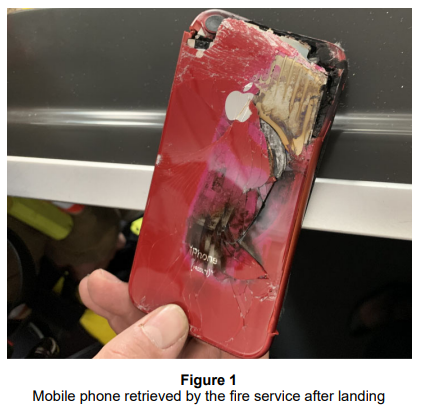 The Air Accident Investigation Branch published a photo of the offending iPhone XR, which burst into flames after being dropped down the side of an airline seat