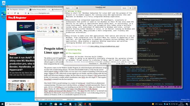 Приложения Linux, работающие в Windows: Firefox, LibreOffice, Gedit и VS Code.