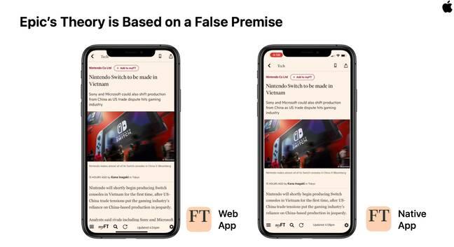 Epic v. Apple slide showing similar web app, native app