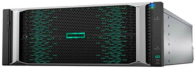 HPE 9000 image from Alletra brochure, with the box actually labelled Primera A670; the A670 being a 4-controller node, 16-SSD slot chassis which can grow with expansion enclosures. An Alletra 6000 image in the brochure uses the same Primera A670 shot.