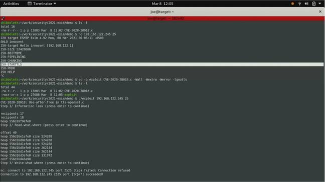Qualys demonstrates a proof of concept exploit against the Exim mail server, achieving root access to the remote server