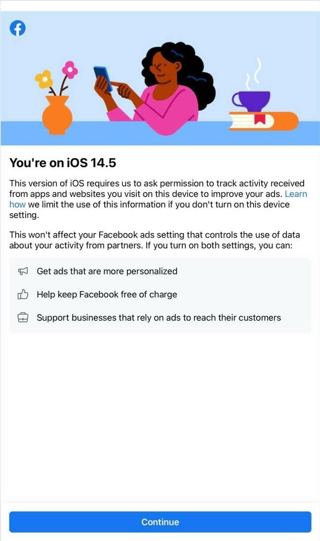 Facebook iOS ad popover