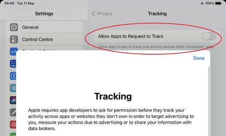 Apple's Allow Apps to Request to Track is off by default, with a detailed description available.