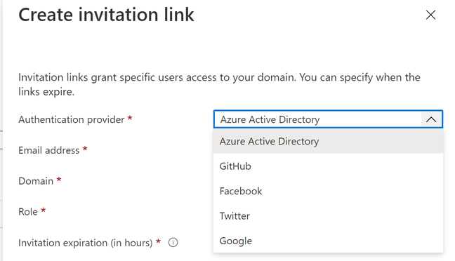 Built-in options allow authentication with a range of providers, but Azure Active Directory has special support