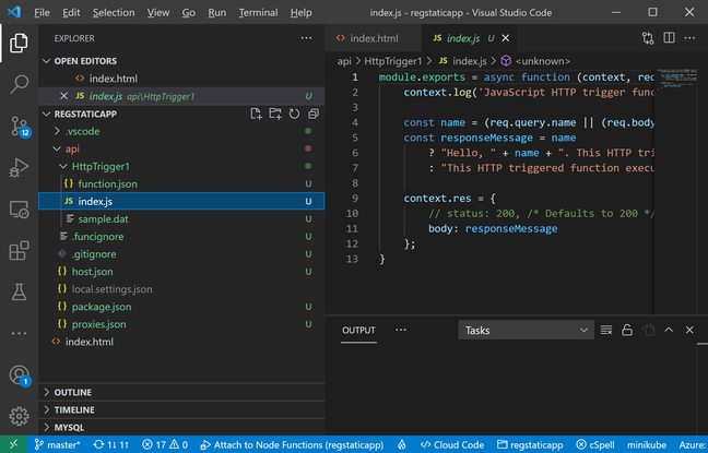 Editing an Azure Static Web Site in VS Code, linked to a GitHub repository