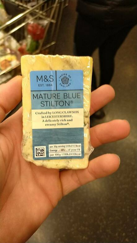Image of block of Stilton in hand that led to conviction of Carl Stewart