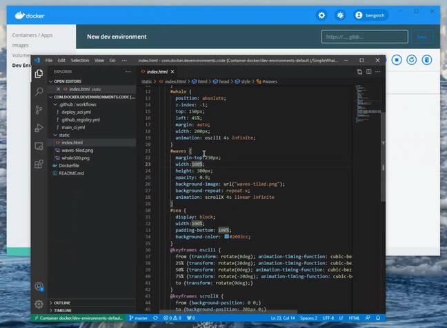Editing code in a Docker Development Environment.