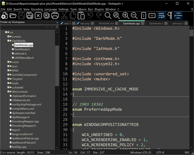 Version 8 of Notepad++ includes a new Dark Mode