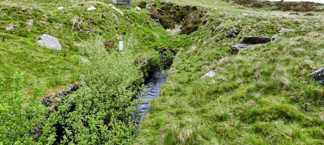 The exit from the tunnel that connected Llyn Dulyn to Llyn Eigiau. The system was designed to ensure maximum flow into Eigiau rather than manage the reservoir level