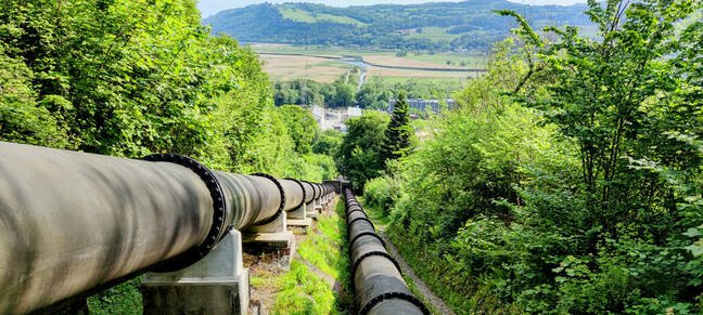 The pipeline carrying water from Cowlyd and Coedty to the Dolgarrog power station today