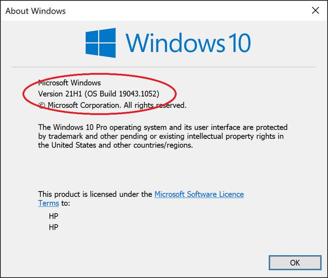 Winver muestra la versión de Windows, en este caso 21H1, primer semestre de 2021 o 19043.1052