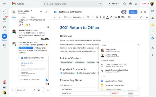 New Spaces feature including a document with a Smart Chip