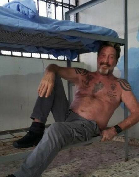 John McAfee in prison. Pic from his Twitter feed