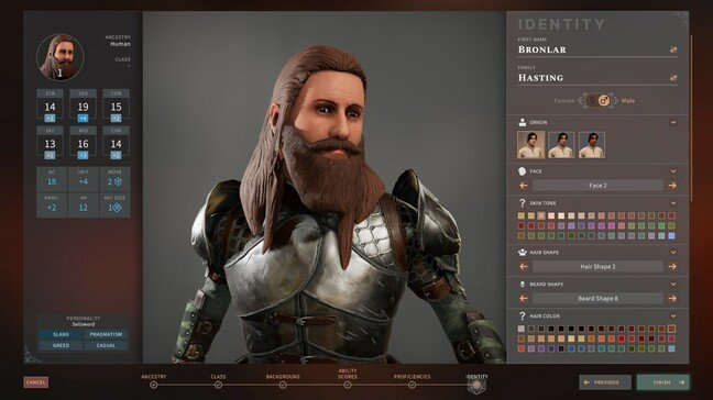 Character creation with selected stats and personality down left