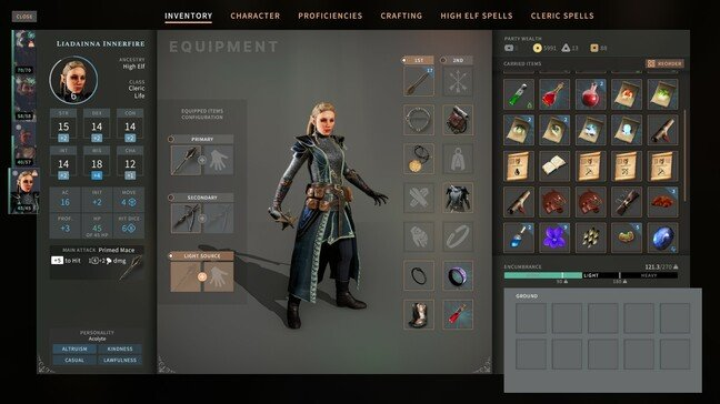 The inventory screen – be careful not to carry too much or you will be penalised