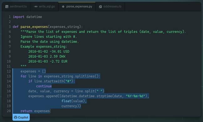 A screenshot of bad code from GitHub Copilot