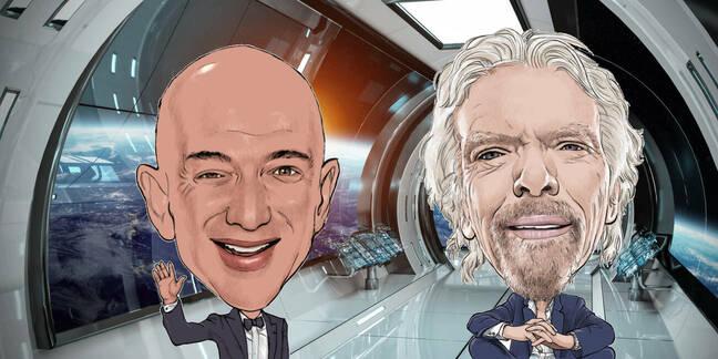 illustration: Jeff Bezos and Richard Branson in a spaceship