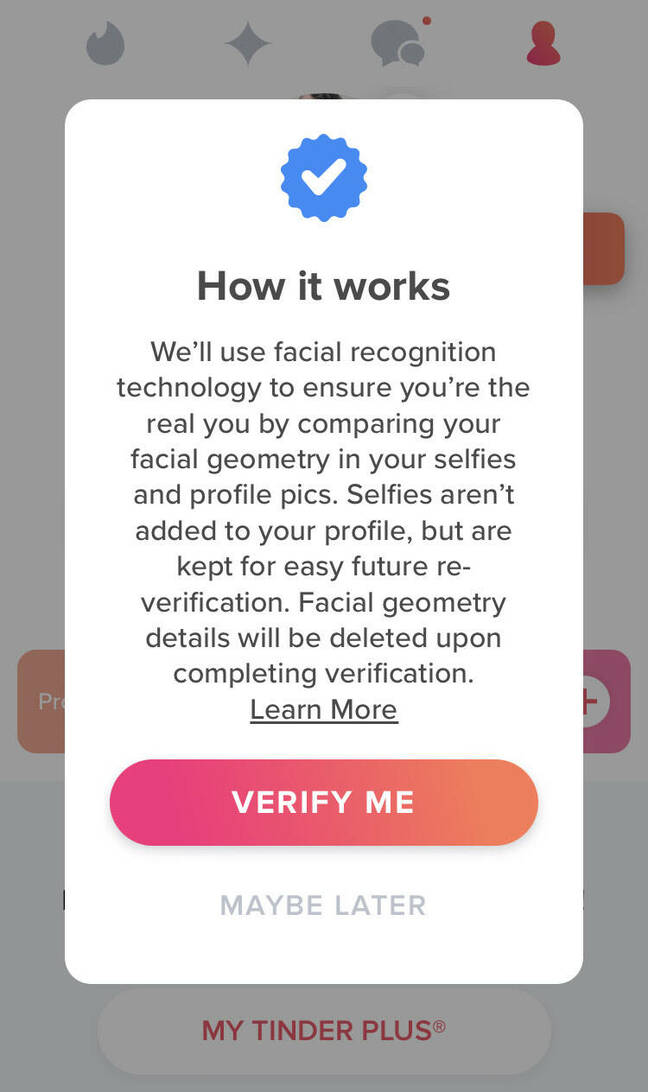 Tinder popup notification about face recognition