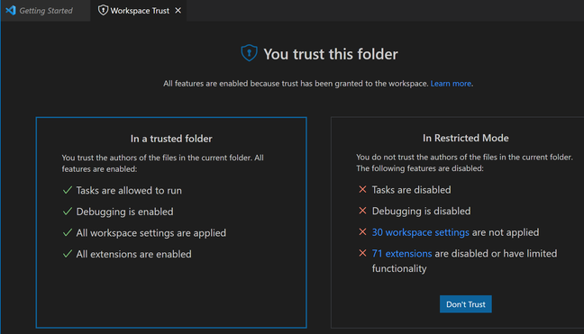 The consequences of not trusting a folder: many features do not work