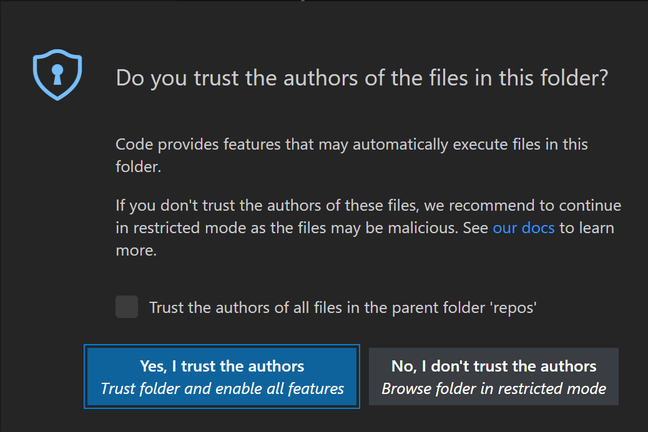 A large modal dialog pops up whenever VS Code opens a folder for the first time
