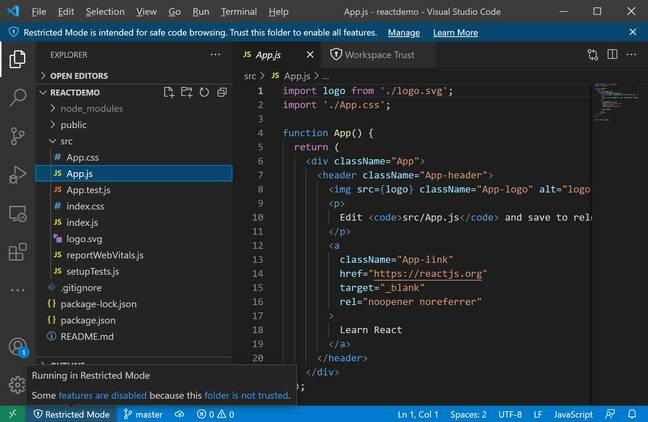 Visual Studio Code running in 'Restricted mode'
