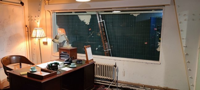 The office of the commanding officer of Western Approaches HQ. Here he could watch the Battle of the Atlantic unfold on the giant plot boards in the next room