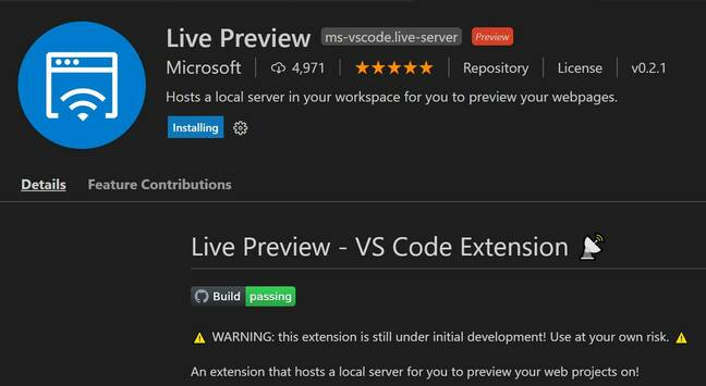 The new Live Preview extension