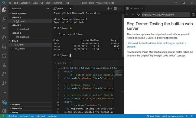 Visual Studio Code 1.58 including web server extension and terminal in the editor