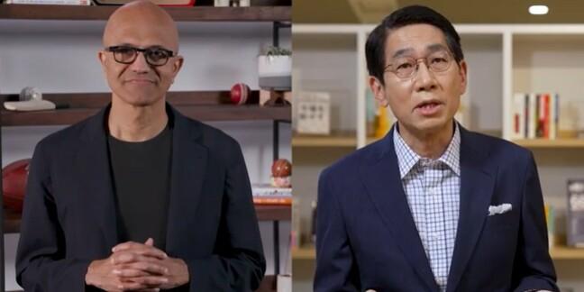 Microsoft CEO Satya Nadella and NEC CEO Takayuki Morita