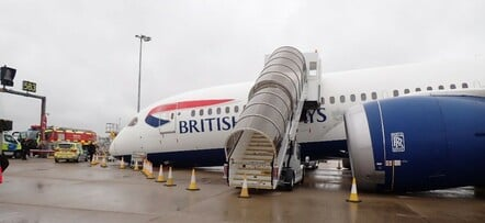British Airways Boeing 787 G-ZBJB after the nose landing gear retraction accident. Crown Copyright/AAIB