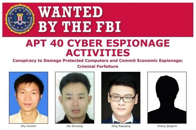 FBI wanted poster for alleged members of APT40, aka China's Ministry of State Security hackers