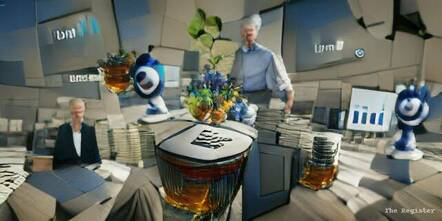 """VQGAN+CLIP generated image of """"IBM reports strongest revenue growth in three years"""""""