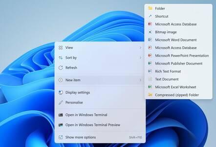 Windows 11 New Item