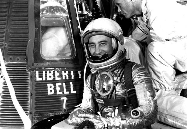 Virgil 'Gus' Grissom in front of Liberty Bell 7 (pic: NASA/JSC)