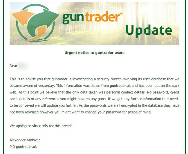 Guntrader hack notification email, as sent to users
