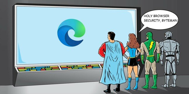 Superheroes stare at screen with MS Edge logo