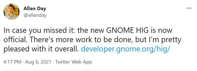 Allan Day from the GNOME design team tweets the guidelines are now official