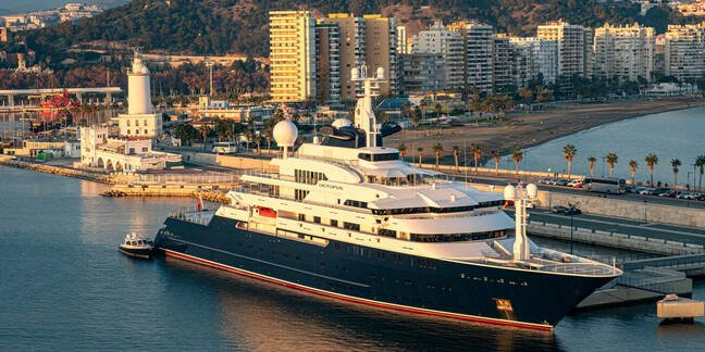 Paul Allen's yacht, Octopus, moored at Malaga, Spain