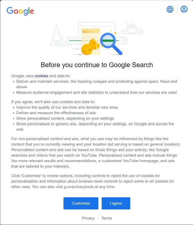 The blocking dialogue which confronts anonymous users of Google Search