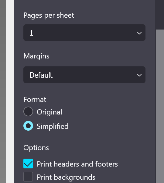 Simplified printing saves ink, but only appears for some pages