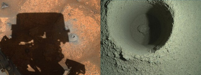 Perseverance's drill hole in the Martian surface. Credits: NASA/JPL-Caltech/MSSS